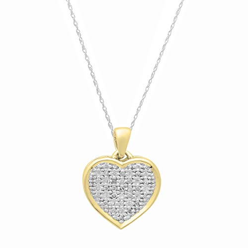 Dazzlingrock Collection 0.04 Carat (ctw) 10K Round White Diamond Ladies Heart Pendant (Silver Chain Included), Yellow Gold
