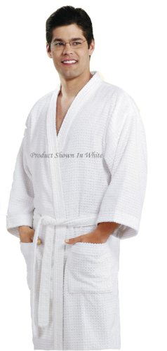 """Waffle Spa Bathrobe W/shawl Collar, Full Length 50"""". Available in 7 Colors (White)"""