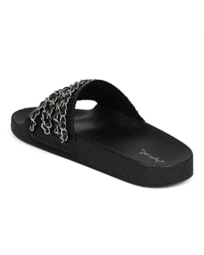 Alrisco Women Chain Embellished Slide - Open Toe Molded Footbed Sandal - Casual Versatile Trendy Fashion Designer Inspired Sandal - HD19 by Qupid Collection Black Mix Media kADs5cY