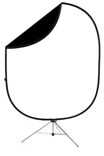 Savage Black/White Collapsible Backdrop, 5' W x 6' H w/ 8' Aluminum Stand