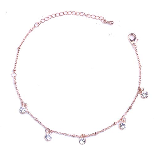 3UMeter Rose Gold Women Girls Anklets Jewelry Crystal Anchor Dainty Beach Ankle Bracelet Set Great Foot Jewelry Gift for Valentine Mother's Day Birthday