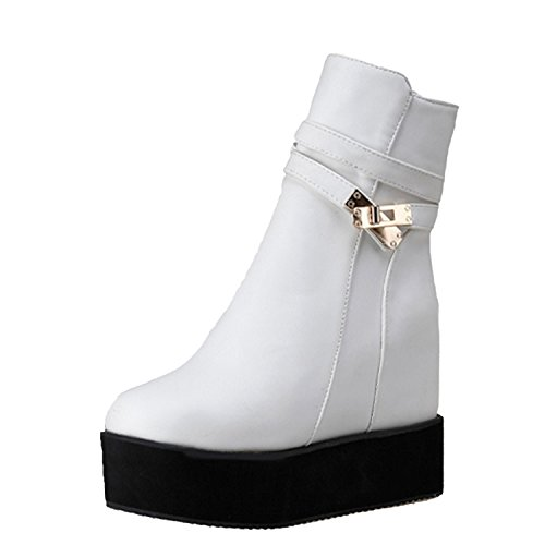Nonbrand Women's Wedge Heel Synthetic Ankle Boots White 3aLzIVi4