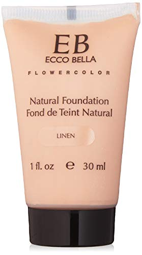 Ecco Bella Natural Liquid Foundation | Vegan, Gluten and Paraben-Free Makeup for Flawless Coverage, Linen, 1 oz
