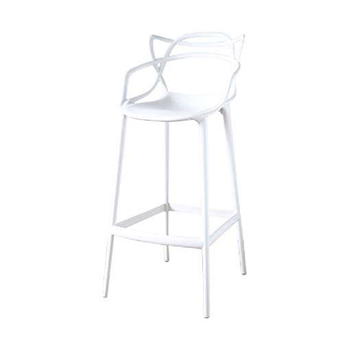 Akang Counter Height Bar Stool, Kitchen High Stool with Back/Personality Modern Style/Red White Black Green (Color : White, Size : Seat Height 75cm)