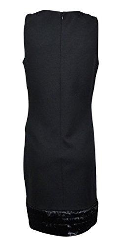 Calvin Klein Fausse Fourrure Sans Manches Pour Femmes Robe Fourreau Extensible Garni Noir