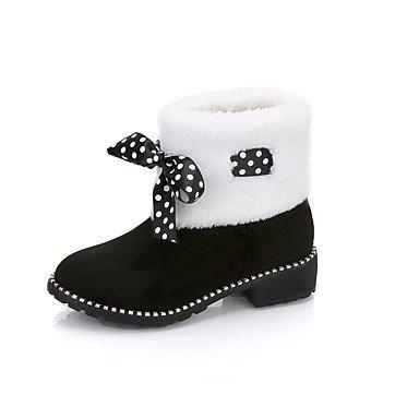 Bowknot CN37 Scarpe 7 5 Boots Stivaletti Rosso Casual Fashion Punta Donna 5 EU37 Pu Babbucce Tonda Per UK4 Stivali US6 Fall 5 Outdoor Nero Winter Stivali RTRY Snow p6qdx6