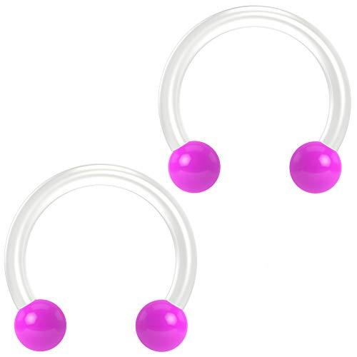 2pc 14g Flexible Bioflex Circular Barbell Horseshoe Septum Ring Bioplast Piercing Ball Purple 10mm