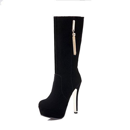 AdeeSu Womens Platform Spikes Stilettos Fashion Grommets Suede Boots SXC01774 Black XBhIv8C