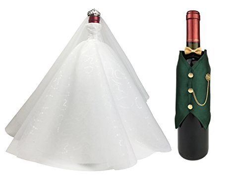 Wedding Gifts For the Couple, Wedding Gifts for Bride and Groom,Bridal Shower Gifts,Wine Bottle Covers Set,Wine Bottle Centerpieces for Tables (white dress x green (2)
