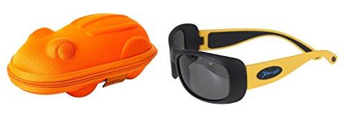 Lunettes de soleil Flexerz- Enfant 4 à 10 années , Jaune/Noir, et un étui lunettes de soleil Yoccoes - en forme de Grenouille Orange
