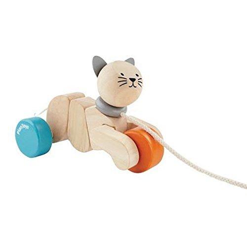 PlanToys Dancing Cat Pull Toys (Plan Toys Preschool Dancing Alligator Pull Along Toy)