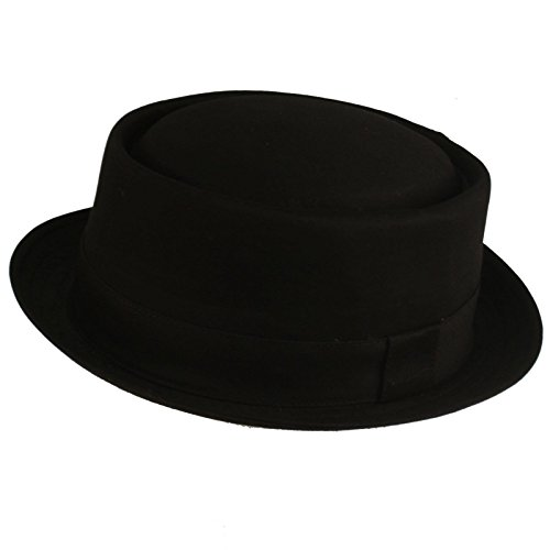 Men's 100% Cotton All Season Boater Porkpie Derby Fedora Hat Cap Black S/M 56cm (Pork Pie Hat)