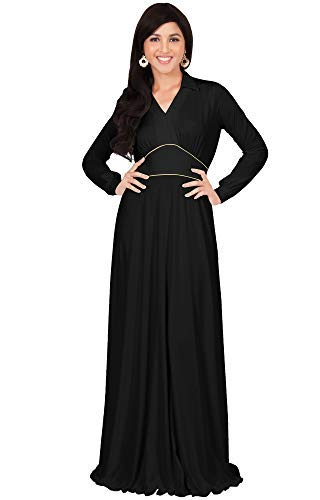 KOH KOH Womens Long Sleeve V-Neck Flowy Semi Formal Elegant Gown Maxi Dress