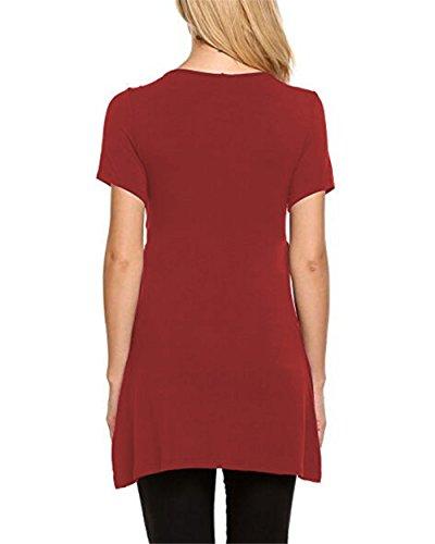 Bluse Tops Casual Comoda Maglietta Aivosen Moda Shirt Puro T Corta Allattamento Manica Red Colore 2 Popolare Donna in Lungo Breastfeeding Premaman 1 Loose Morbidi TSSfZnHcW