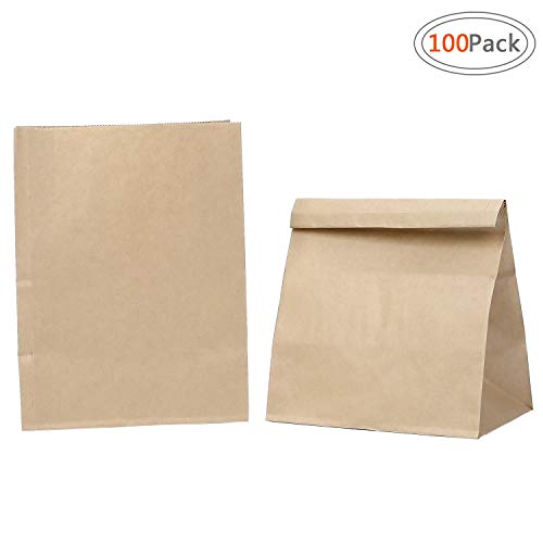 Road Kraft Brown Paper Lunch Bags, 6.1x4.13x12 Inches 100pcs Durable Paper Grocery Bags,Package Paper Lunch Bag,Parchment Bags,Sugar Bags,Food Storage Bags for Lunch