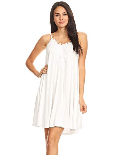 (Anna-Kaci Womens Lace Applique Adjustable Spaghetti Strap Flowy Under Dress, White, Large)