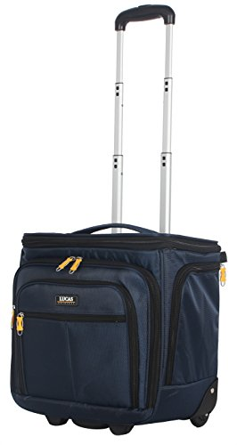 Lucas Convertible Under Seat Carry on Luggage - Expandable 15 Inch Weekender Overnight Business Travel Suitcase - Lightweight 2- Rolling Spinner Wheels Bag (Blue)
