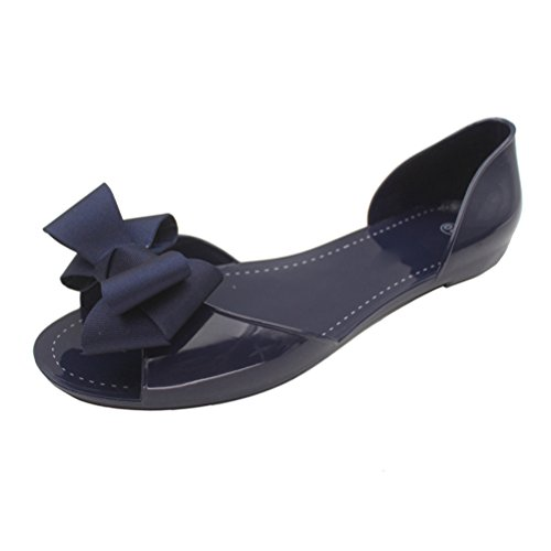 Blue Fish Thong Sandal (OMGard Women Sandals Flat Ribbon Bow Woman Summer Jelly Thong Shoes Colors Blue Size 6)
