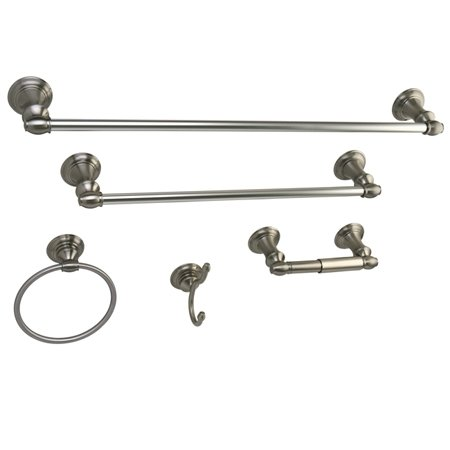 Provence 5 Piece (Kingston Brass BAHK161212478SN Provence Collection 5-piece Towel Bar Bath Hardware Set, Satin Nickel)