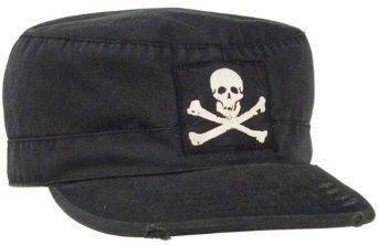 Vintage Style Military Fatigue (Vintage Military Fatigue Cap, Black w/Jolly Roger, Medium)