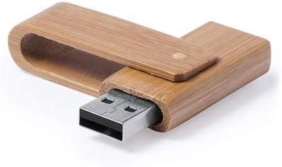 Lote de 20 Memorias USB de 16GB de capacidad, con mecanismo giratorio y acabado en suave madera de bambú. Presentada en estuche individual de cartón reciclado. Detalles de bodas, regalos de empresa: