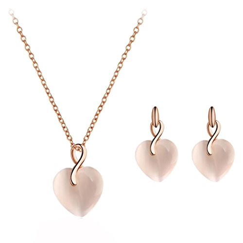 Gyoume 3PCs Jewelry Set Women Love Heart-Shaped Crystal Pendant Lady Necklace Ear Studs (A, Rose Gold)