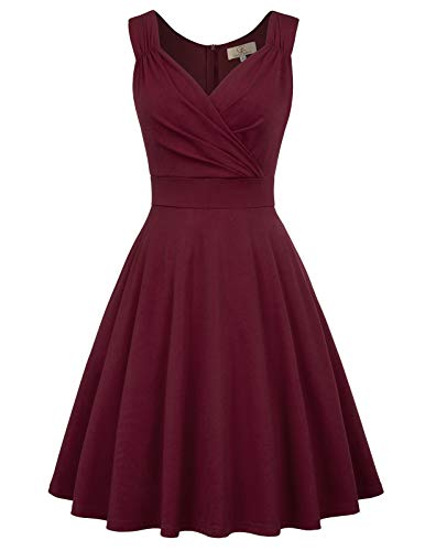 GRACE KARIN 50s Retro Cocktail Swing Dress Knee Length Size S Dark Wine CL107-1