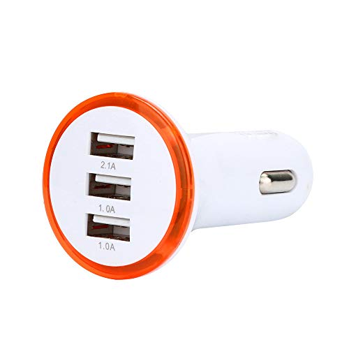 ❤️Gmgod❤️ 3.1A LED USB 3 Port Adapter Socket Car Charger for iPhone/Samsung/HTC (Orange) (Charger Kitty Hello Iphone)