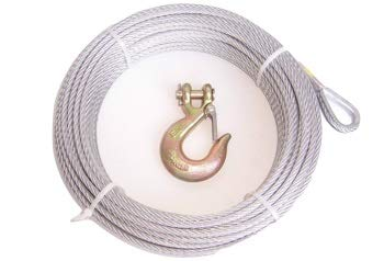 7x19 Advantage 1//4 Galvanized Steel Winch Cable 100 ft with Thimble Eye