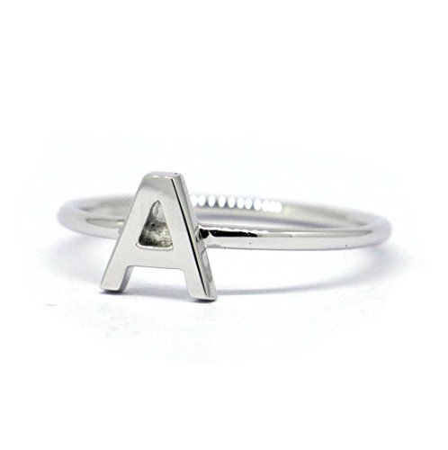 (lifufinejewels Solid 925 Sterling Silver Letter Initial Stackable Ring,Capital Letter Ring (A, 6))