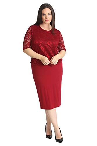 2 In 1 Lace Top Dress Wine 26-28