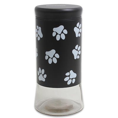 Cow Costume Seal (Housewares International 9-1/4-Inch Glass Pet Treats and Snacks Storage Jar, Black Background)