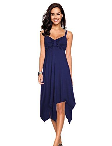 Leadingstar Women's A-Line Pleated Summer Holiday Beach Dress (Navy Blue, XL)