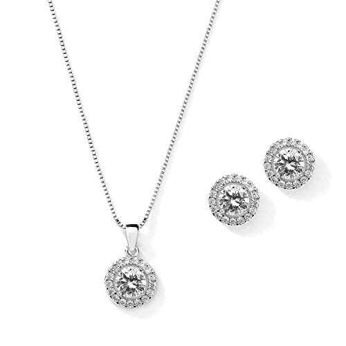 Mariell 10.5mm Cubic Zirconia Round Halo Necklace & Earrings Wedding Jewelry Set for Brides & Bridesmaids