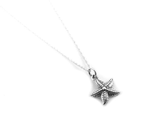 Small Starfish Sterling Silver Sea Star Charm Necklace Ocean Beach Theme Jewelry