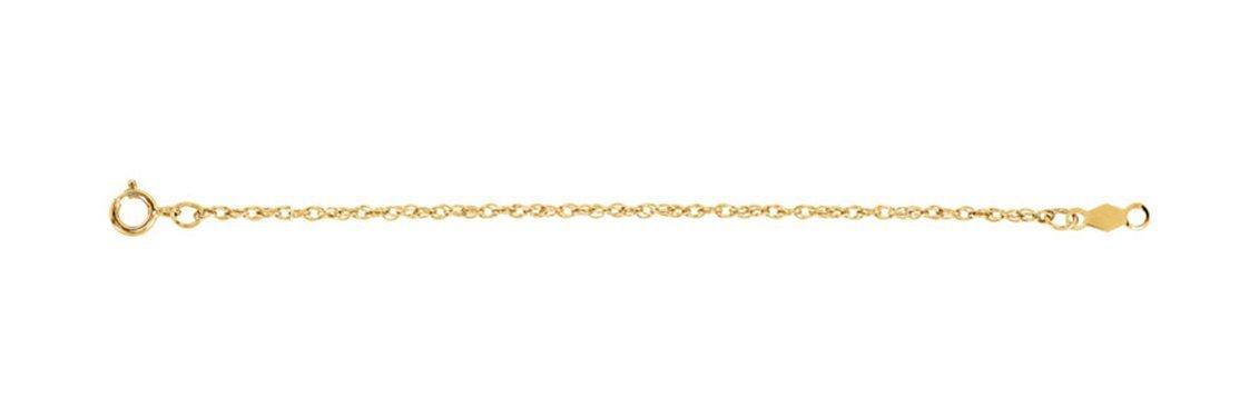 14k Yellow Gold 1.25mm Rope Chain Bracelet, 7''