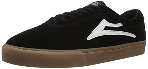Lakai Mens Skateboard Shoe - Lakai Men's Sheffield Skate Shoe, Black/White Suede, 11 M US