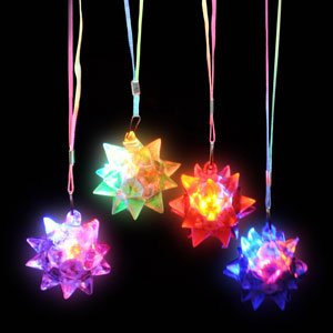 LED Star Ball Necklace Assorted Colors 12pcs Flashing Star Ball