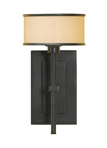 Murray Feiss Lighting WB1378DBZ 1-Light Casual Luxury Wall Bracket, Dark Bronze Finish with Bronze Oraganza Fabric on Hard Back - Luxury Bracket Casual Wall