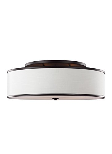 Murray Feiss SF340ORB Lennon-Five Light Semi-Flush Mount, Oil Rubbed Bronze Finish with Ivory Linen Shade (Lights Flush Feiss Mount Murray)