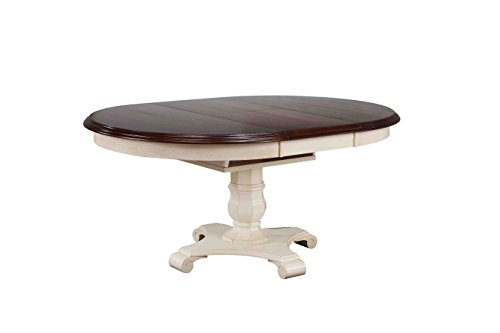 Sunset Trading Andrews Extendable Butterfly Leaf Table with Chestnut Finish Top, Antique White