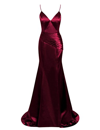 Fluorodine Women's V Neck Spaghetti Strap Cross Back Prom Dress Mermaid Evening Gown US6 Burgundy (Gown Red Silk)