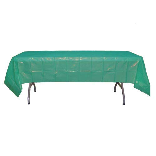 Exquisite 12-Pack Premium Plastic Tablecloth 54in. x 108in. Rectangle Table Cover - -