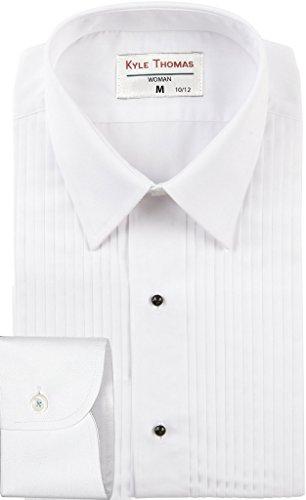 """Kyle Thomas Women's 1/4"""" Pleat LAYDOWN Collar Tuxedo Shirt 2 White"""