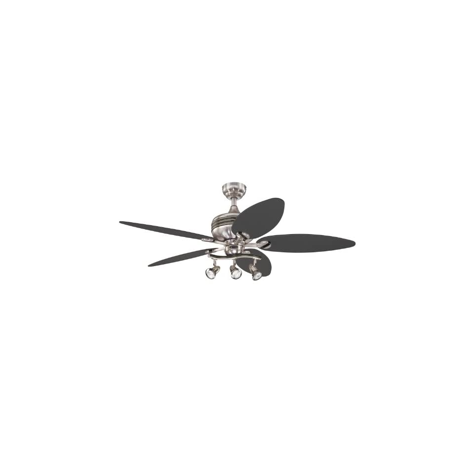 Westinghouse 7234220 Xavier II 52 Inch Five Blade Indoor Ceiling Fan with Three Spot Lights, Brushed Nickel with Gun Metal Accents