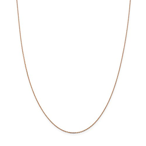 (PriceRock 14k Gold Rose Gold 1.0mm Cable Chain Necklace 24 Inches)