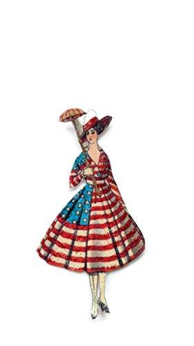 Fourth of July Ornament Decoration Art Deco American Flag Lady Bridge Tally Holiday Handmade Gift