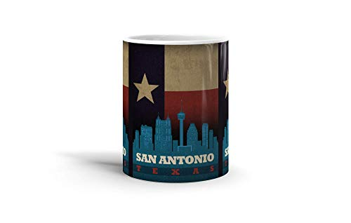 (Ceramic Coffee Mug US Country Cup San Antonio Texas City Skyline State Flag United States Culture Drinkware Super White Mugs Family Gift Cups 11oz)