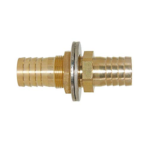 Joyway 3/4'' ID Hose Barb Thru-Bulk Head Fuel Hex Union Fitting Intersection/Split Brass Water/Fuel/Air