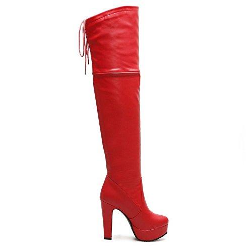 COOLCEPT Damen Mode Stiefel Ohne Verschluss Red